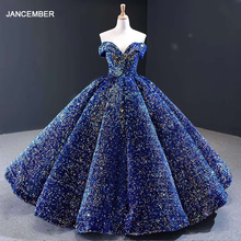J66991 Multiple Colors Available Evening dress 2020 Plus Size Off Shoulder Sweetheart Sequin Long Shiny Prom Dress
