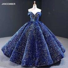 J66991 çoklu renkler mevcut akşam elbise 2020 artı boyutu kapalı omuz sevgiliye pullu uzun parlak balo elbise
