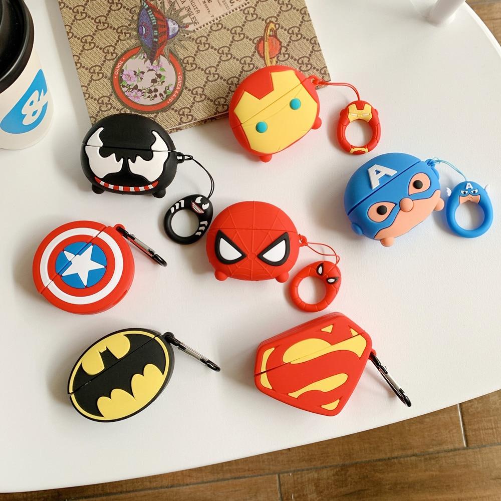 Marvel Spiderman Iron Man Airpods pro protective sleeve Apple 1/2/3 generation Bluetooth headset anti-drop sleeve birthday gifts