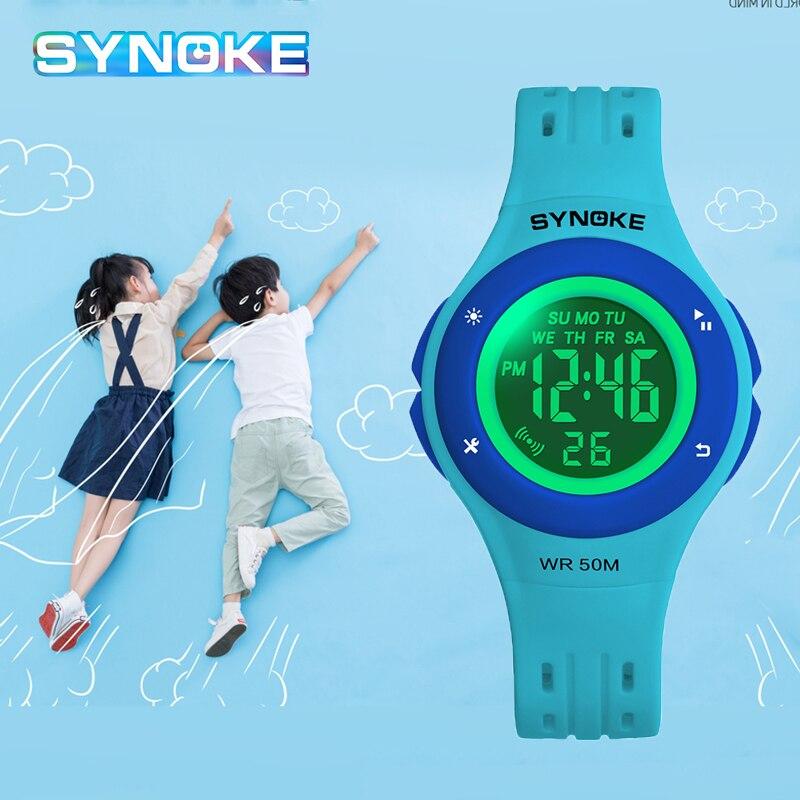 SYNOKE Дети Студент Спорт Часы Цифровые Наручные часы Для Студентов Часы Многофункциональный Электронный Часы Relogio Infantil