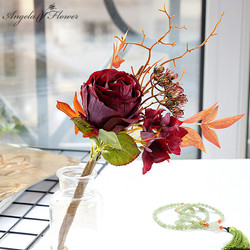 Retro pk british rose group branches artificial flowers fake flower home decoration ornaments wedding supplies photography props