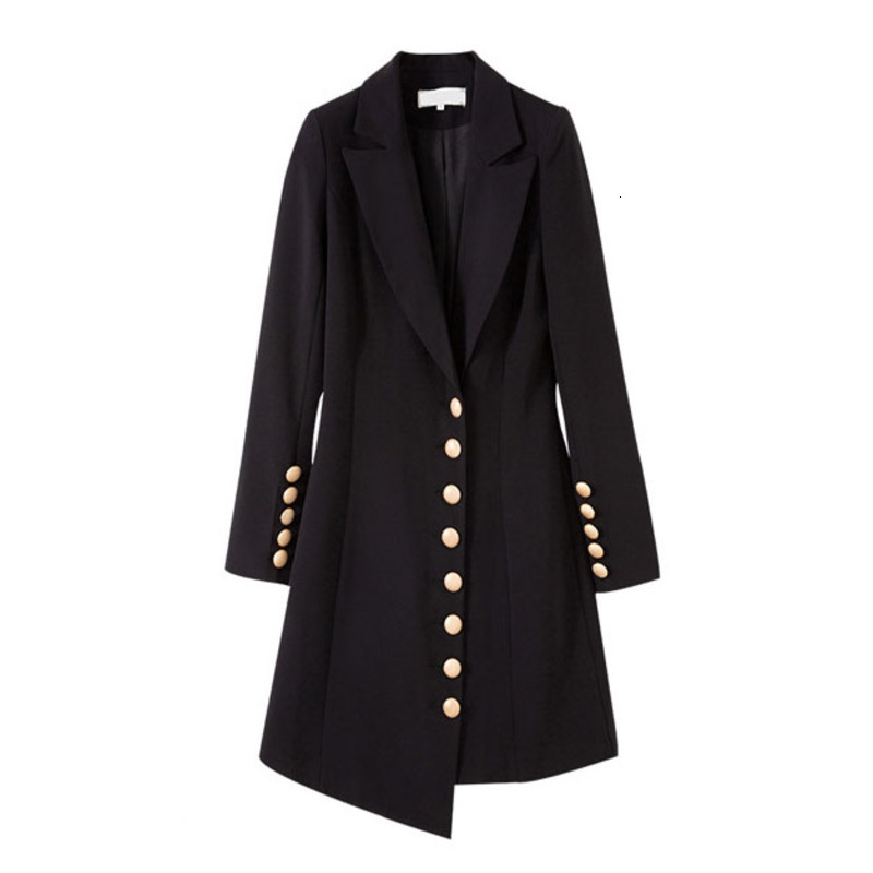 LANMREM 2020 New Style New Black Small Suit In The Long Section Of Slim Buttons Decorated Female Fashion Blazers PC374
