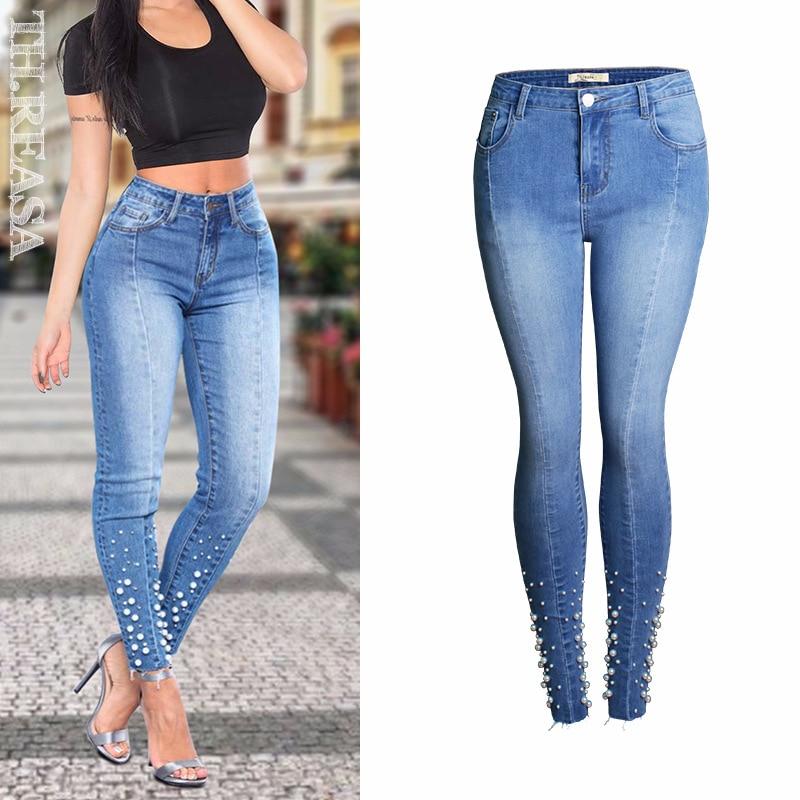 European Station Spring New Jeans Women's Pants Slim Elastic Hip Lifting Thin Nail Bead Leggings