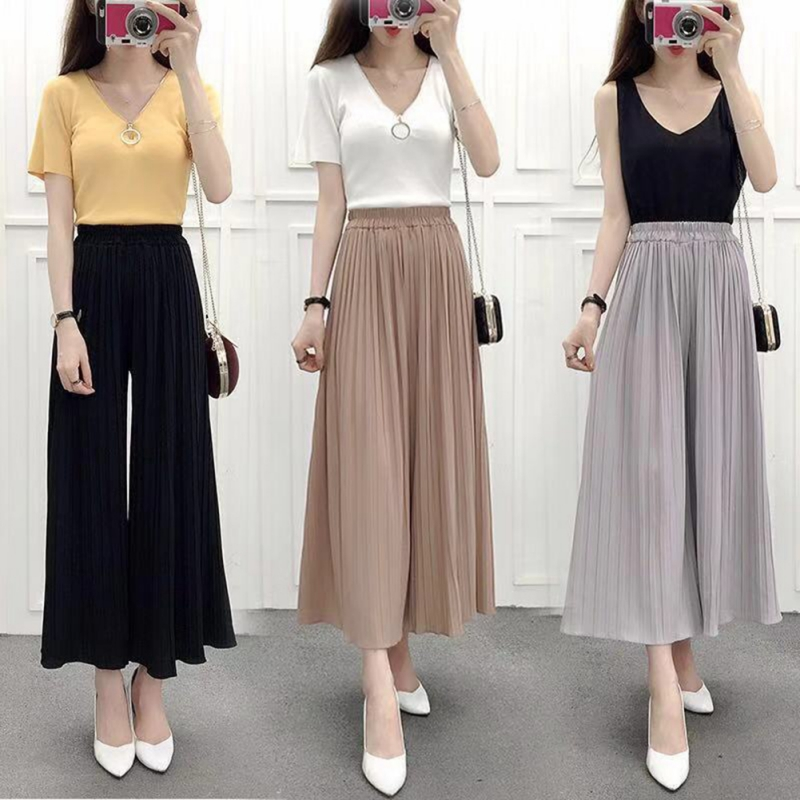 New Women Sweet Pleated Loose Thin Wide Leg Pants Cotton Blend Nine Thin Section Breathable Casual Nine 	Ankle-Length Pants