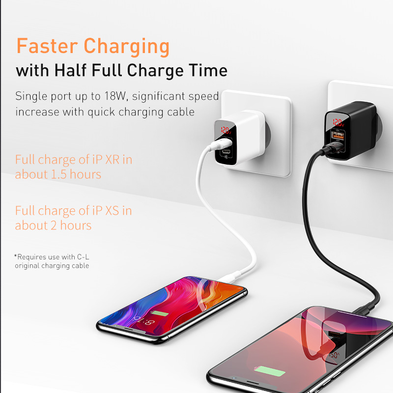 Image 5 - Baseus Digital Display Quick Charge 3.0 USB Charger 18W PD 3.0 Fast Charger for iPhone 11 Pro Charger Mobile Phone USB C Charger-in Mobile Phone Chargers from Cellphones & Telecommunications