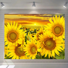 Jayi Plant Wall Printing Tapestry Sunflower Plant Scenic Pattern Wall Hanging Home Decoration 45GT недорого