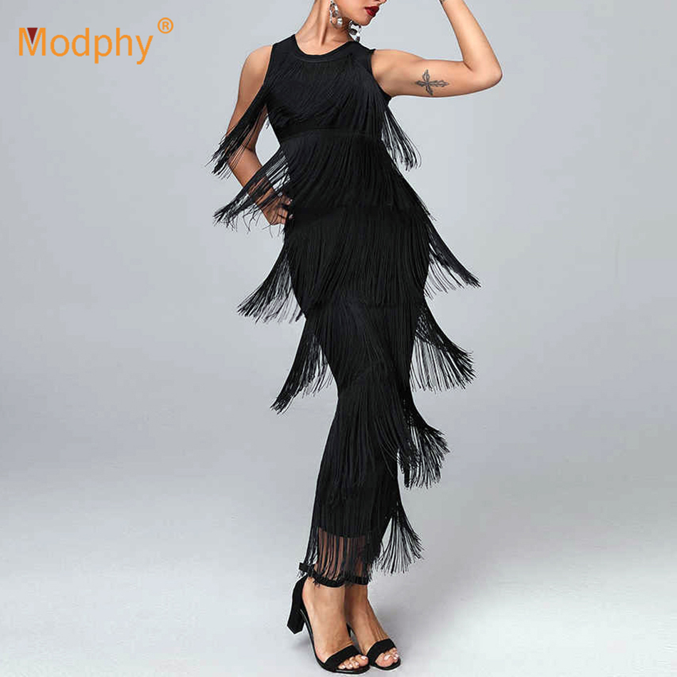 <font><b>2019</b></font> Women's Elegant <font><b>Black</b></font> Bandage Long <font><b>Dress</b></font> <font><b>Summer</b></font> O-Neck <font><b>Sleeveless</b></font> Fringe <font><b>Dress</b></font> <font><b>Sexy</b></font> Club Party <font><b>Dress</b></font> <font><b>Bodycon</b></font> Vestidos image