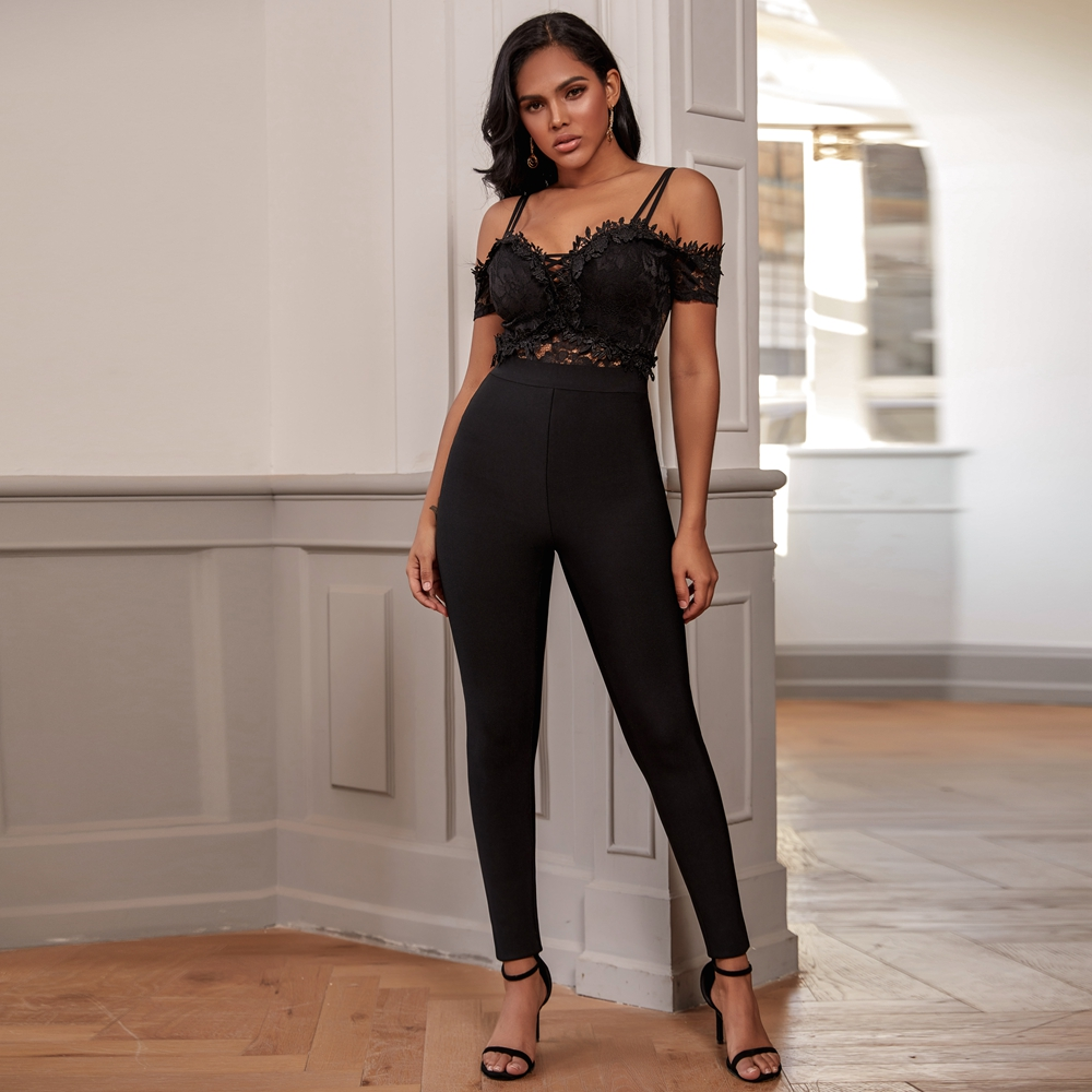 Deer Lady Bandage Jumpsuit 2019 New Arrivals Autumn Black Women Bandage Bodysuit Off Shoulder Lace Sexy Bodycon Bandage Jumpsuit