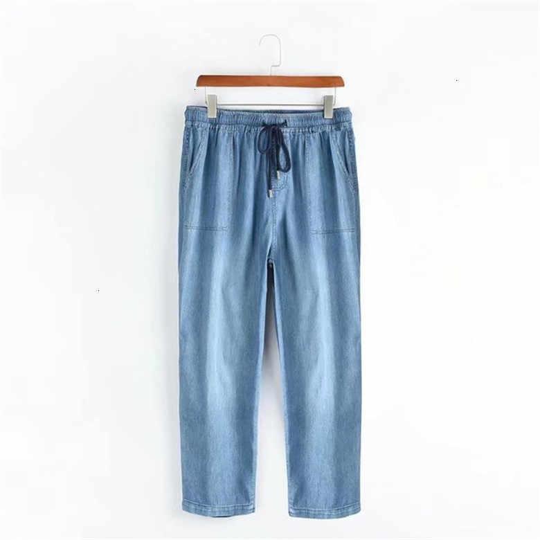 Весна Плюс Размер повседневные женские джинсы Broek тонкий стрейч Катон деним Broek для женщин синий 2XL-5XL