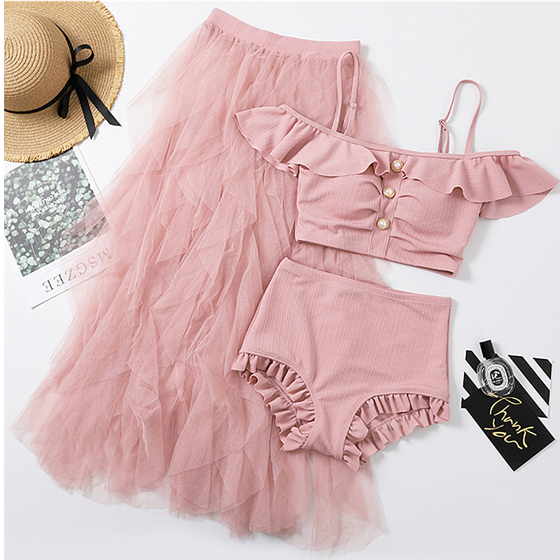 Female Swimsuit Fission Three-piece Holiday Beach Dress Sexy Swimsuit Korea Ins Tall Waist Wind Show Thin Swimsuit