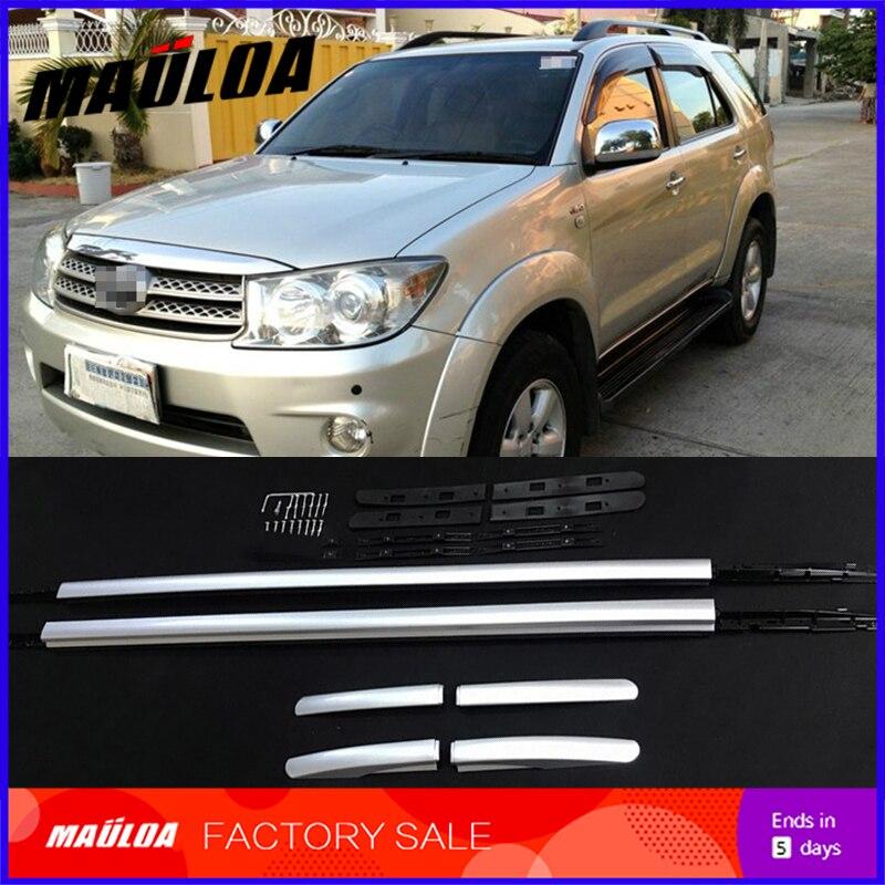 alta qualidade da liga de aluminio do carro telhado rack trilhos bagagem transportadora para fortuner 2009