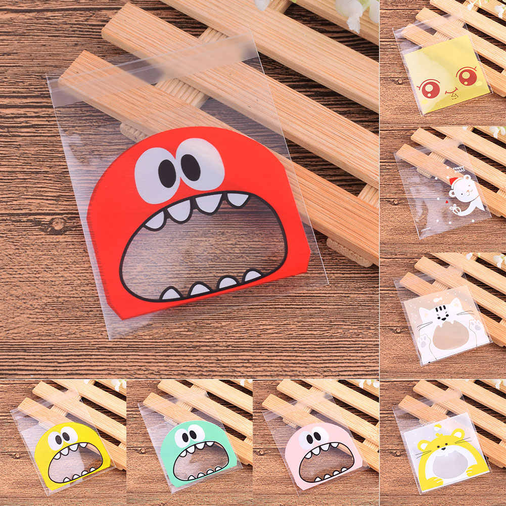 100Pcs Cute Big Teech Mouth Monster Plastic Gift Bag Wedding Birthday Cookie Candy Gift Packaging Bag Self Adhesive Party Favors