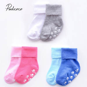 Infant Socks Non-Slip Kids Newborn Baby-Boys-Girls Winter Cotton Solid 0-6T Candy-Color