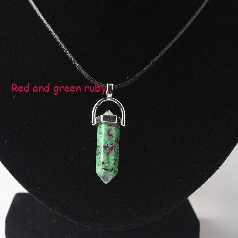 LanLi, шестиугольная колонна, ожерелье с натуральным кристаллом, подвеска с камнем, кожаные цепи, ожерелье для женщин, модное ювелирное изделие - Окраска металла: hong lv bao