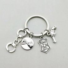 Очаровательная Мода полицейский значок подвеска кольцо для ключей