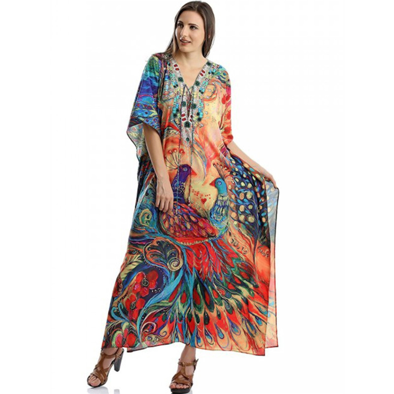 2020 New Loose Beach Dress Peacock Print Bikini Cover Up V-neck Summer Chiffon Tunic Beachwear Kaftan Swimsuit Kaftan Sarongs