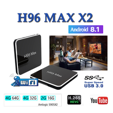 Smart tv set top box Amlogic S905X2 H96MAX X2 boxes 4GB64GB 1080P H.265 android8.1 support youtube netflix boxing