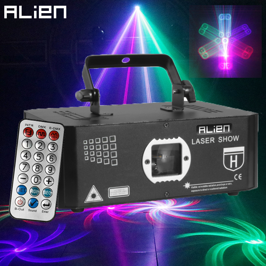 ALIEN 500mW RGB Laser Stage Lighting Projector Effect Beam 3D Illusion Animation Network 10 IN 1 DJ Disco Party Holiday Lights