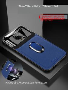 Image 3 - Für Redmi Hinweis 9 S Fall Luxus plexiglas leathe Abdeckung Stoßfest Zurück fall auf Für Redmi Hinweis 9 S 8 9 7 Pro magnet auto halter rop