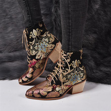 Stylish Women Chelsea Boots Embroider Ethnic Winter Ankle Boot Lace Up Pointed Toe High Heel Shoes Warm Cowboy Botas Mujer Retro jady rose genuine leather sexy women ankle boots for autumn pointed toe 9cm high heel botas mujer female fashion chelsea boot