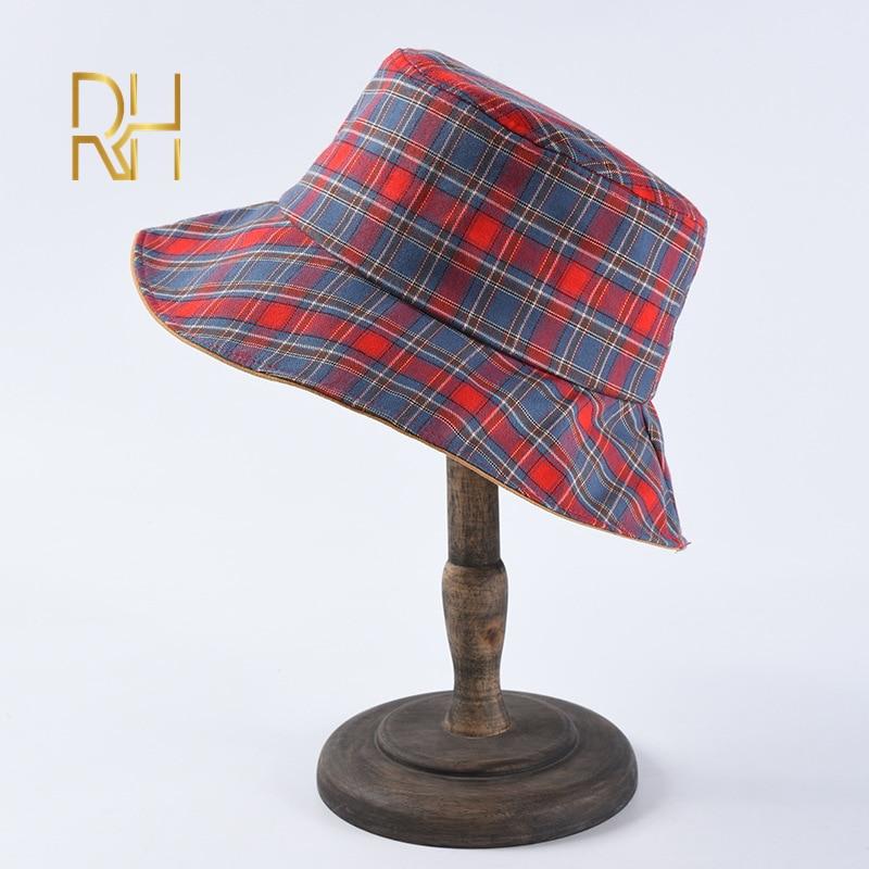 niumanery Japanese Women Girls Summer Reversible Bucket Hat Sweet Plaid Check Printed Sunscreen Packable Casual Lounge Fisherman cap Pink