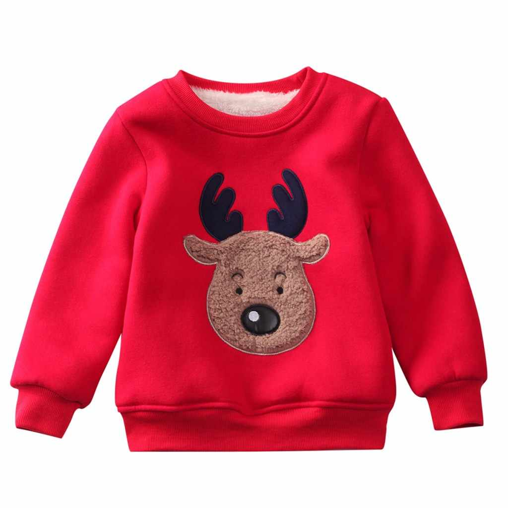 Baby Sweatshirt Toddler Baby Long Sleeve Print Christmas Deer Tops Sweatshirt Baby Thick Sweater Christmas Elk Warm Pullover