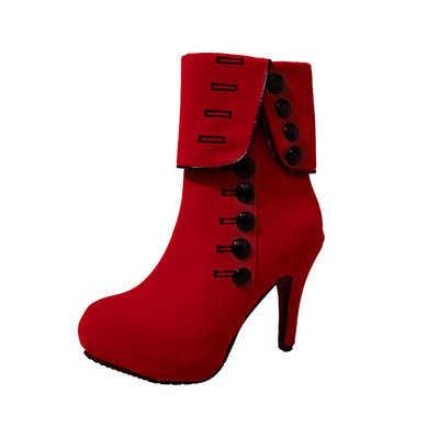 2019 новые модные женские ботильоны модная красная обувь на высоком каблуке женские ботинки из флока на платформе с пряжкой женская обувь Большие размеры 35-42