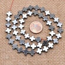 6 millimetri 20pcs Pietra Naturale Ematite Nera Perle di Forma di Croce Branelli Allentati Del Distanziatore Per Monili Che Fanno FAI DA TE di Fascino Dei Monili perline di pietra