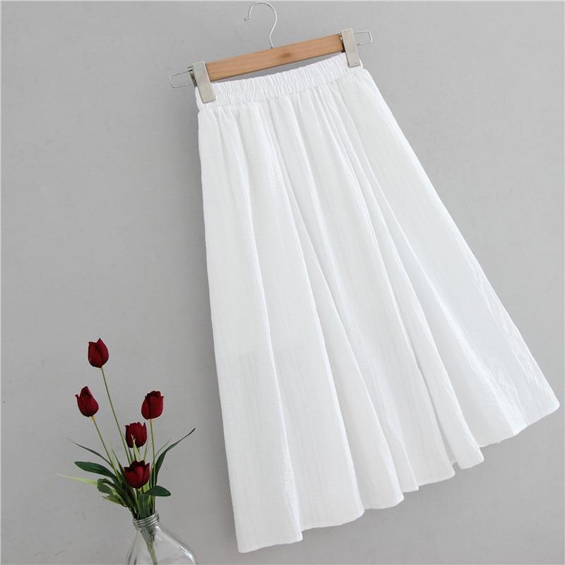 2020 New Stretch High Waist Summer Women Midi Length White Cotton Skirts Jacquard Saia Women A-Line Boho Skirt Faldas Jupe Femme