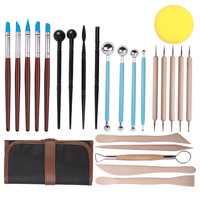 24pcs Soft Clay Carving Tool Kit Crafts Clay Sculpting Tool kit Pottery & Ceramics Wooden Handle Modeling Clay Tools