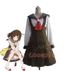 Anime Bakemonogatari Monstory Sengoku Nadeko Cosplay Costume Top Skirt Tie Bag Wig Cosplay Uniform Halloween Costumes for Women(China)