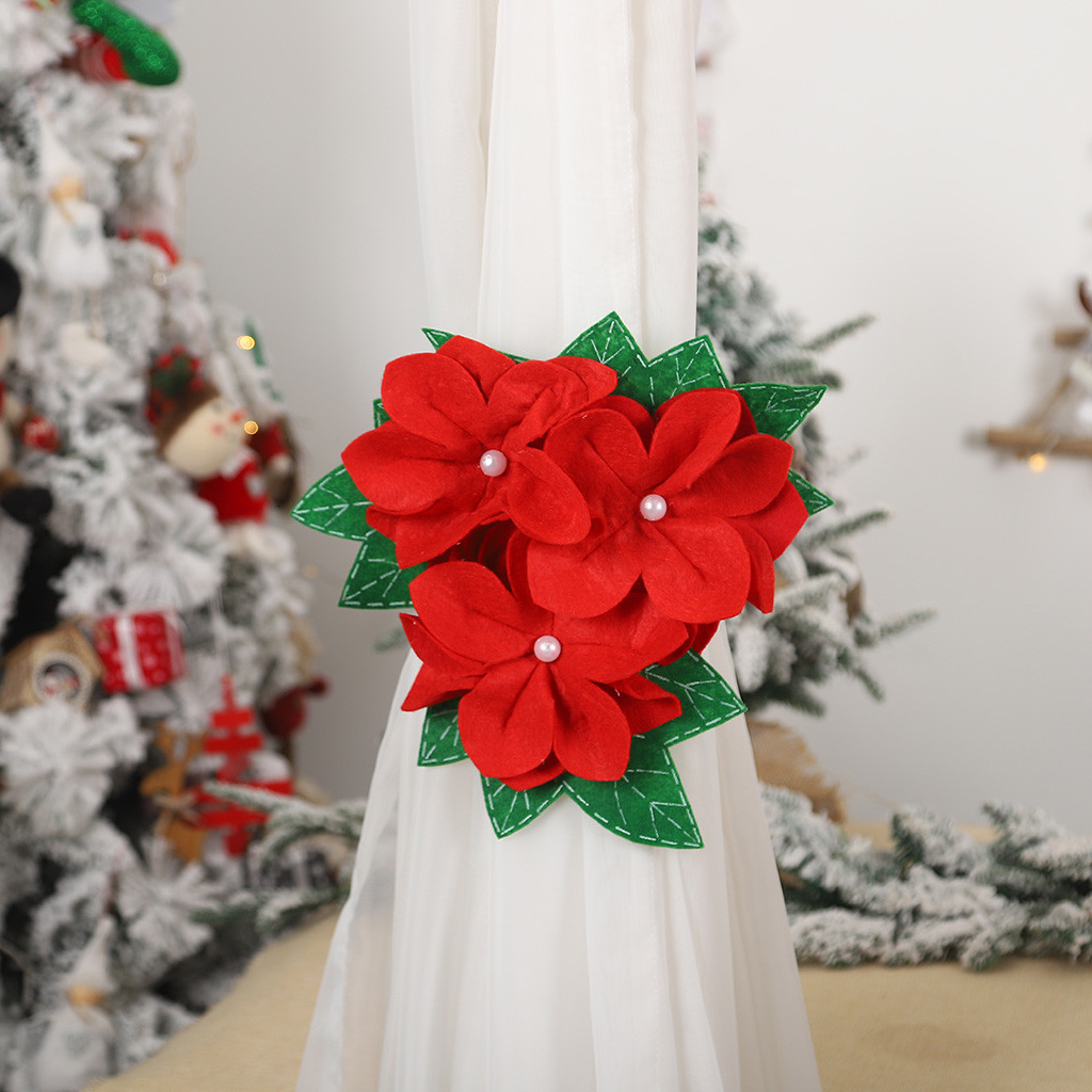 Curtain decorative accessories tie backs 1PC Window Curtain Tieback Clip-on  Flower Tie Holder Drape Xmas Exquisite d91105