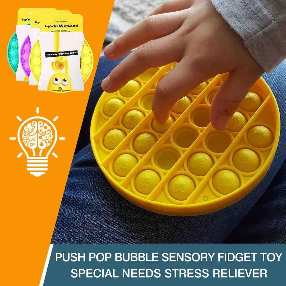 Push Pop Bubble Sensory Fidget Toy,Squeeze Sensory Toy,Stress Reliever Silicone Toy for All Ages Prismatic Purple