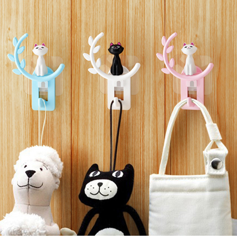 New Bathroom Kitchen Cartoon Cat Wall Robe Hook Towel Hat Clothing Hanger Holder Sucker Cup Organizer Suction Hanging Hooks