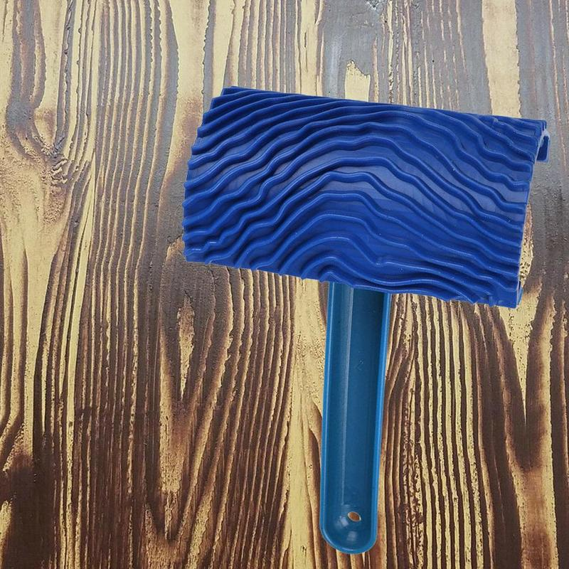 Blue Wood Grain Paint With Handles Wall Imitation Wood Hand Pull Tools Embossed Wall Art Paint Art Wallpaper Wood-like Tools