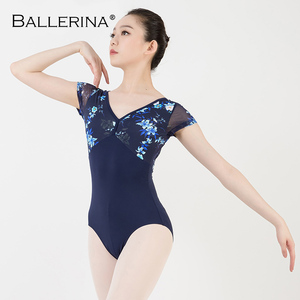 Image 5 - women ballet short sleeve printing leotard adulto Dance Costume short sleeve ballet practice leotard Ballerina 3532