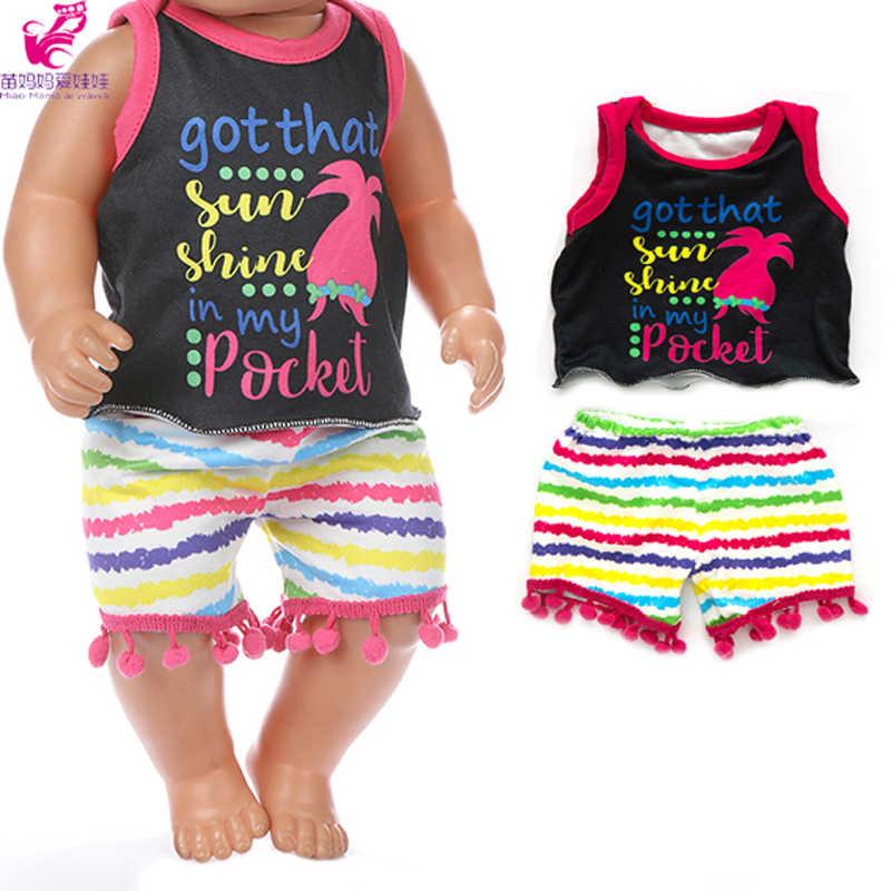 Pakaian Boneka untuk 43 Cm Lahir Boneka Anak Laki-laki dan Perempuan Kapas Kemeja dan Celana Pendek Juga Cocok untuk 18 inch Gadis Boneka Pakaian