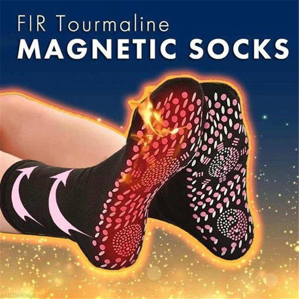 1 Pairs FIR Tourmaline Magnetic Socks - Self Heating Therapy Magnetic Socks Self-heating Health Socks Unisex