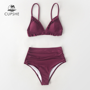 Image 4 - CUPSHE katı bordo Ruffled yüksek belli Bikini setleri seksi yastıklı mayo İki adet mayo kadınlar 2020 plaj mayo
