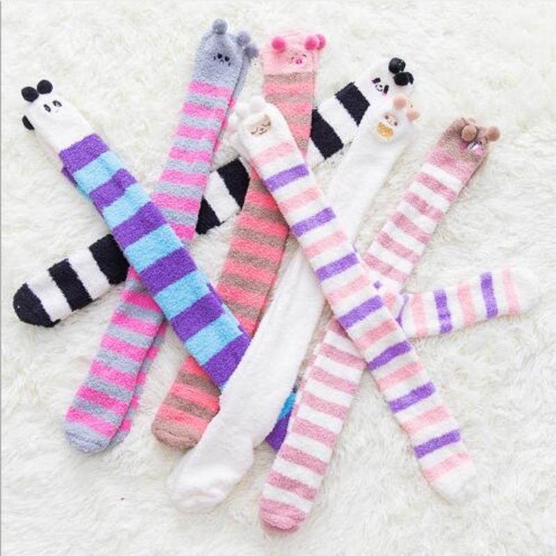 Winter Coral Fleece Long Thigh High Socks Warm Knitted Stockings Striped Cute Animal Panda Cozy Knee Socks New Arrival