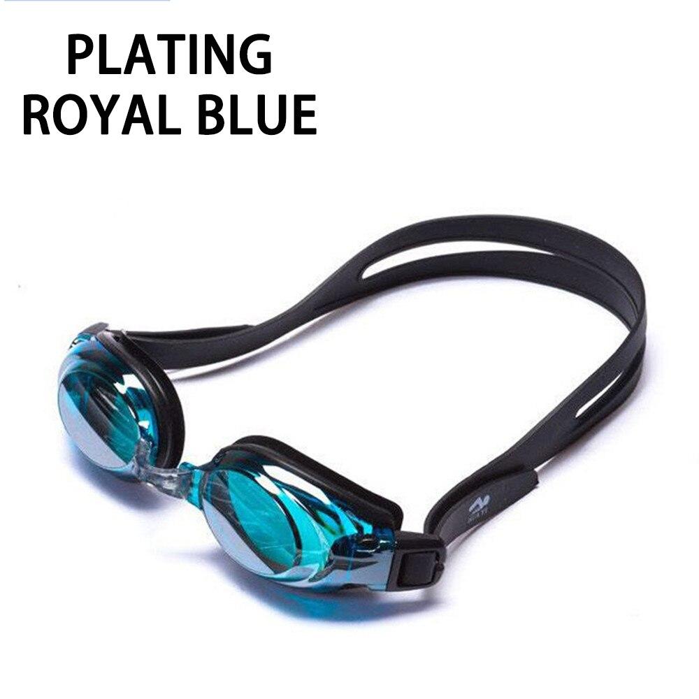 Оптическая близорукость плавательные очки 200-800 градусов Силиконовые противотуманные водная диоптрия плавательные очки для мужчин и женщин очки по рецепту - Цвет: Plating Royal blue