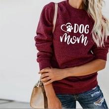 For Women DOG MOM Letters Print Crew Neck Tops Hoodies Kawaii Sweatshirts Harajuku 2018 Loose Creative Street Thick