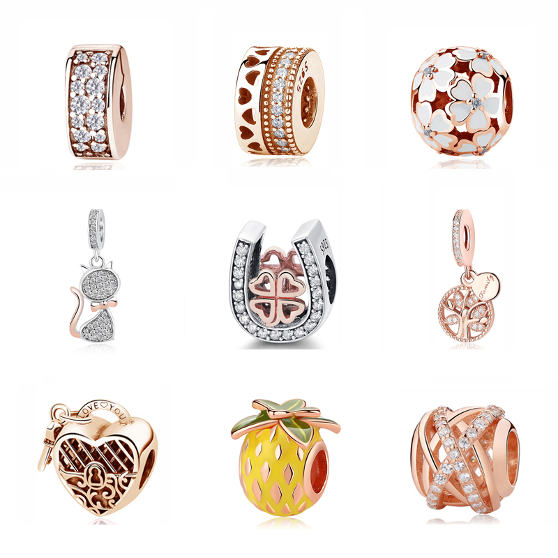 Authentic Original 925 Sterling Silver Charm Bead Pendant Spacer Clip Charms Rose Gold Color Fit Bracelets DIY Jewelry(China)