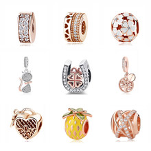 Autêntico original 925 prata esterlina charme talão pingente espaçador clipe encantos rosa cor de ouro ajuste pulseiras jóias diy