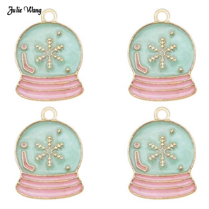 Charm Pendant Bracelet Necklace Xmas-Tree-Decor Snow-Globe Julie Wang Christmas Enamel-Alloy