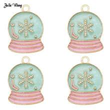 5 шт., 10 шт., эмалированный сплав, снежный шар, Шарм для рождества, женский браслет, ожерелье, подвеска, сделай сам, аксессуар, декор для рождественской елки