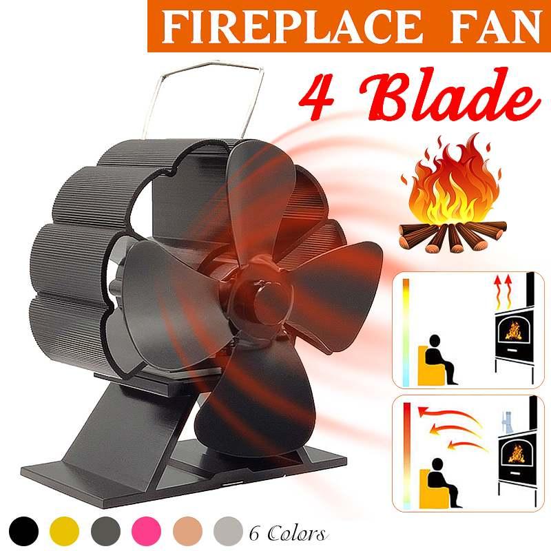 Mini Black Stove Fan 4 Blade Fireplace Fan Heat Powered Komin Wood Burner Eco Fan Quiet Home Efficient Heat Distribution