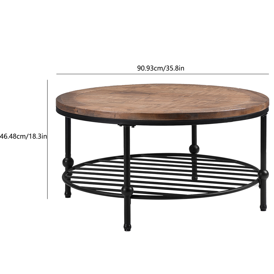 - Home Office Rustic Round Coffee Table Living Room Tea Cocktail
