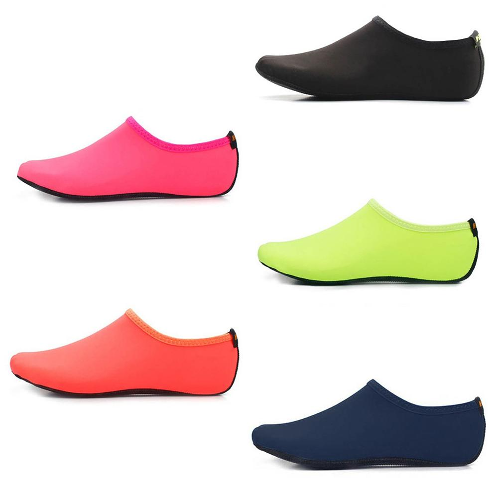 Adult Couples Beach Diving Snorkeling Aqua Socks Bright Solid Color Pool Swimming Quick-Dry Barefoot Surfing Slip-On Water Shoes