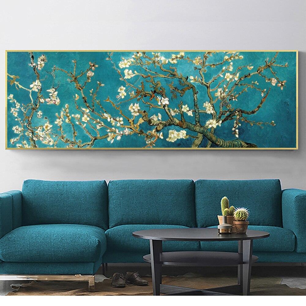 Reproducción de flores de almendro Van Gogh, pósteres e impresiones artísticos de pared de gran tamaño, imágenes de flores impresionistas para sala de estar